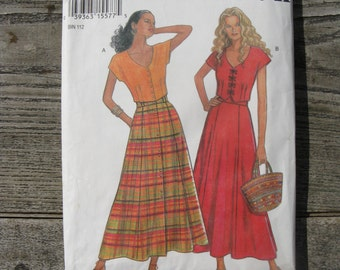 vintage simplicity 6423 new look pattern uncut size A 8-18 blouse and long skirt 6 sizes in one factory folded