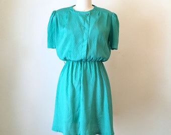 Vintage 1980s Aquamarine Knee Length Dress, Women's Medium
