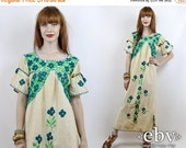 Vintage 70s Cream Embroidered Maxi Dress S M Hippie Dress Hippy Dress Festival Dress Mexican Dress Hippie Wedding Dress Boho Dress
