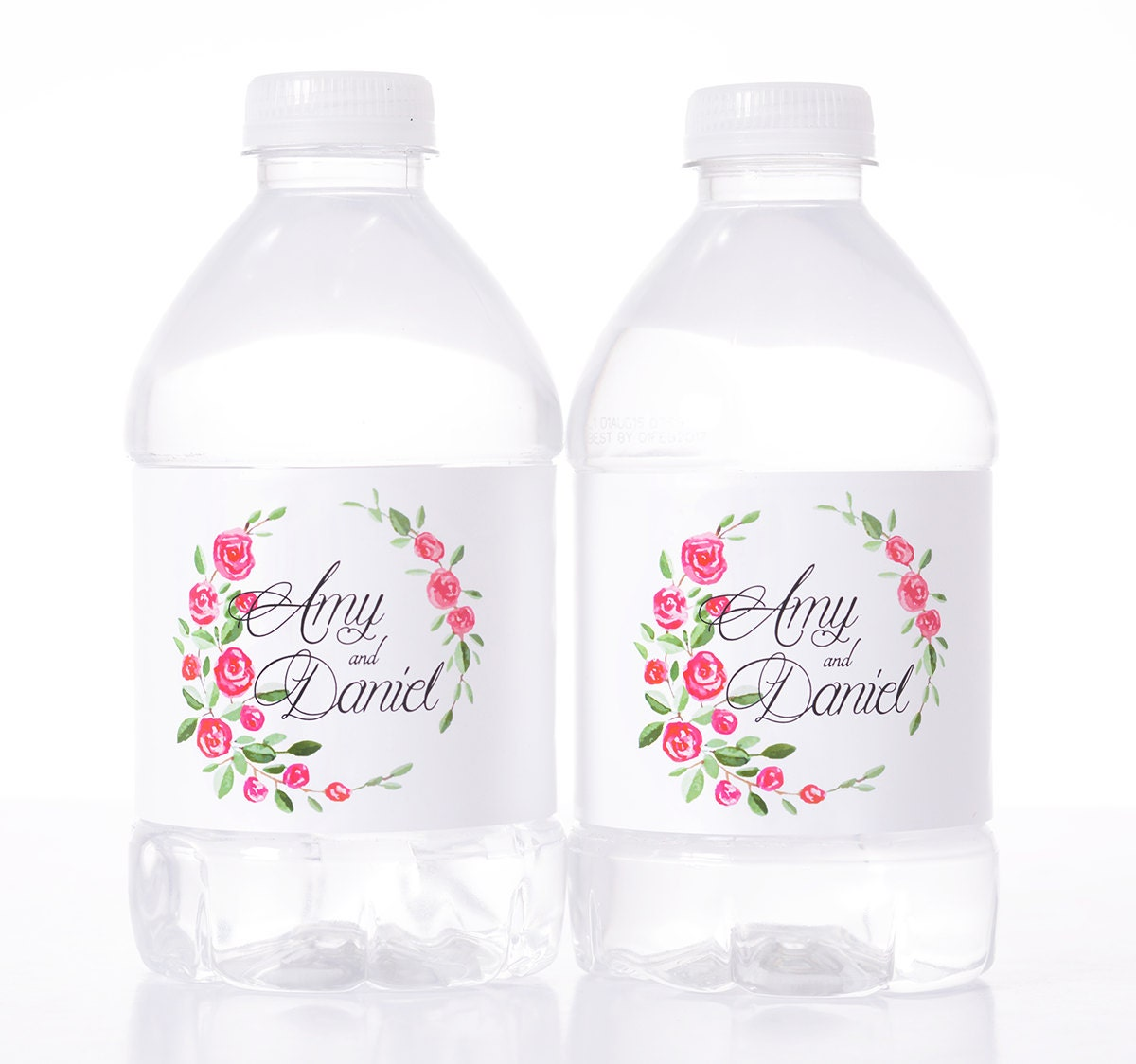 Floral wedding decor 30 wedding water bottle labels need a for Decor water bottle