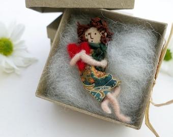 Art Doll Brooch Prim angel scarf pin wearable boho jewelry unique gift