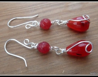 Ruby Earrings wire wrapped in Sterling Silver, July birthstone