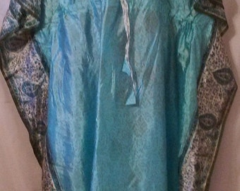 BIG SUMMER SALE Gorgeous 70s Vintage Hand Stamped Gold-Indian Silk Caftan-Kaftan-Medium-Elegant Party Maxi Dress