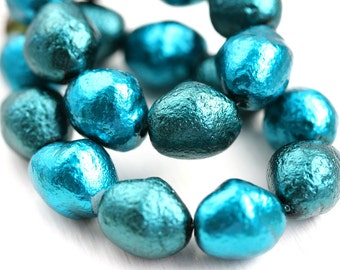 Large Chunky Faux Pearl beads Mix, Teal Czech glass pearls, barrel beads, coated, 13x10mm - 10Pc - 2661