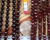 Natural Garnet 5mm/6mm Faceted Round Beads Strand, 15.5-Inch Strand G01015