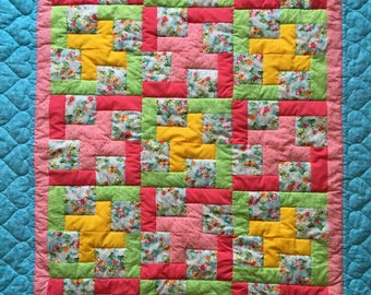 Flowers and butterflies baby quilt