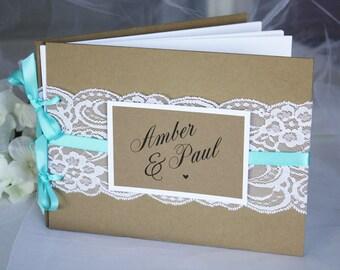 Kraft & Teal Lace Wedding Guest Book, Kraft Teal Guest Book, Rustic Wedding Guest Book, Rustic Guest Book, Rustic Lace Guest Book Rustic