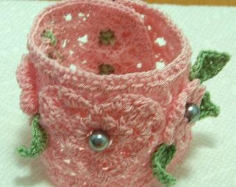 Handmade Thread Crochet Freeform Hearts and Flowers Bracelet / Floral Bracelet / Wedding Jewelry