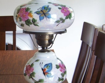 Vintage Decorative Glass Hurricane Table Lamp / Flowers and Butterflies / Rose Pink and Blues / Unique Lighting / 1970's Lamps