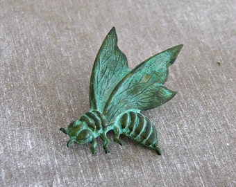 Verdigris Bee Brooch .. small brooch, bee pin, green bee brooch, insect brooch, bee lapel pin