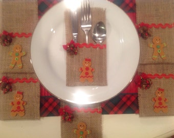 Gingerbread Burlap Utensil Holders Set of 6..Country Home..Holiday Table..Gingerbread Lover..Home Decor..Housewarming Gift..Kitchen Gingers