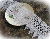 Reneabouquets Trim-3 3/4  Inch Wide Venetian Lace , Embroidery,  Venice , Bridal, Costume Design, Lace Applique, Crafting