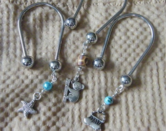 Charm Keychains! Starfish, Koala, Hand Bag, Silver, Horseshoe, Key Chains! Teen Girl Gifts, Women's Gifts, Birthday Gifts, Holiday Gifts