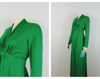 Vintage Dress 70s Bel Canto Knits for Fab-Craft Green Dress Long Sleeve V Neck Bias Cut Metal Zipper Dress Nwt  Deadstock Sz 13/14 Modern M