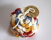 SHOP CLOSING SALE Flower Face Scrubby Set . Set of 3 . Crochet . 100 Percent Cotton . White, Red, Yellow & Blue