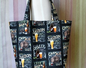 Beer Themed Reusable Grocery Tote Bag