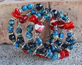 Wrap Bracelet with Red, Turquoise, Blue, Black and Silver Beads with Dragonfly Charms and Beads