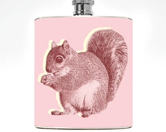 Pink Squirrel Hip Flask Hip Flask 6oz Flask Womens Flask animal Stainless Steel 6 oz Liquor Hip Flask kitsch