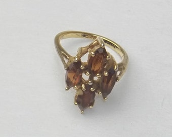 Smoky Quartz 10K Gold Plate Vintage Costume Jewelry Ring