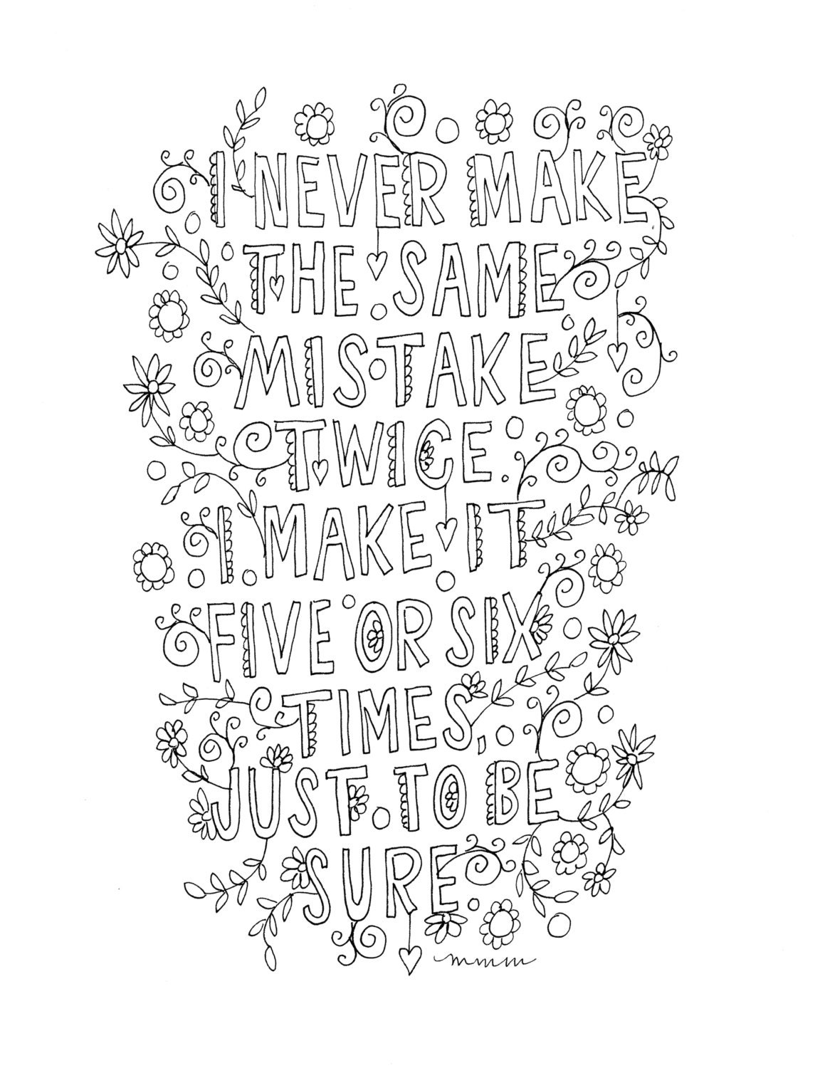 Quote coloring page INSTANT DOWNLOAD line art illustration.