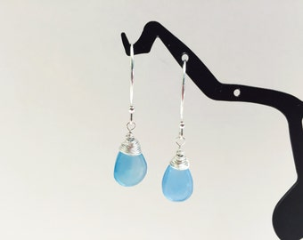 Blue Chalcedony Briolette Earrings