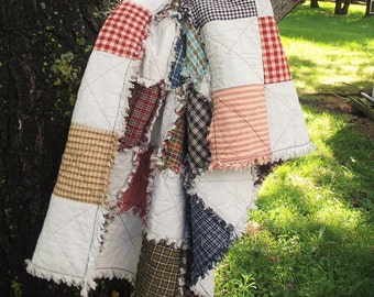 Baby Patchwork Rag Quilt - Made To Order, Baby Shower Gift, Handmade, Rustic Quilt, Cottage Chic Quilt, Crib Quilt, Farmhouse Decor
