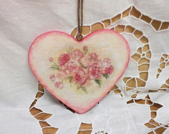 Wooden Heart Ornament, Decoupage Heart, Shabby Chic Heart Ornament, Rose Decoration, Home Decoration, Romantic Decoration, Roses