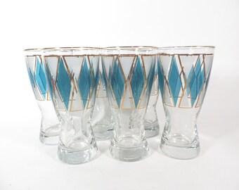 Mid Century Teal Diamond Pilsner Beer Glasses - Vintage Libbey Pilsner Beer Glasses
