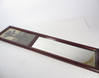 Mid Century Wood Picture Mirror - Long Wood Mirror
