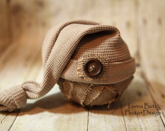 Newborn Upcycled Nightcap Neutral Brown with cute button detail Stretch Night Cap for Newborn Photo Prop