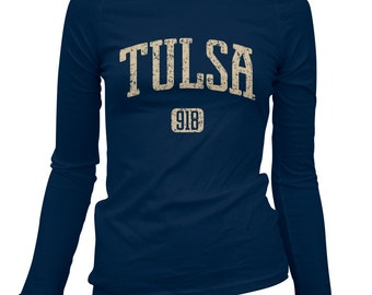 Women's Tulsa 918 Long Sleeve Tee - S M L XL 2x - Ladies' Tulsa T-shirt, Oklahoma - 2 Colors