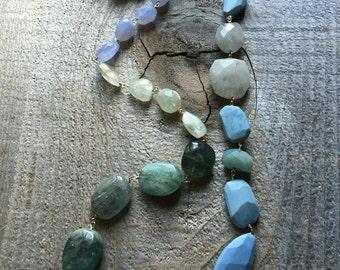 Long chalcedony aquamarine and quartz necklace