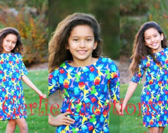 Girls Inside Out Dress, Girls Dress, Inside Out, Knit Dress, Boatneck Style - 2T - 7