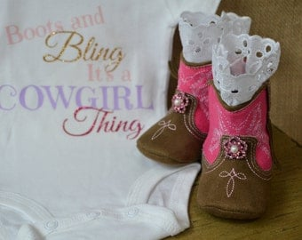 Soft Sole Baby Girl Cowgirl Boots...Pink Boots...Baby Girl Boots...Pink Cowgirl Boots...Country Baby...White Lace Boots...Cake Smash Boots