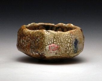 """Handbuilt Stoneware Teabowl """"Salted Runoff"""""""