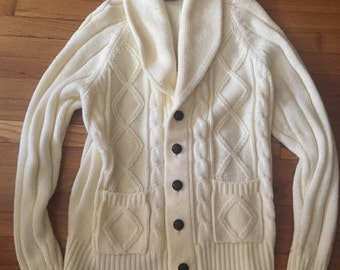 Vintage 70s fishermen cream cable cardigan cozy and warm size large