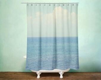 Blue White Ombre Ocean Shower Curtain for Tropical Zen Bathroom Art, Beach Bathroom Decor