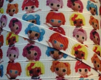 Fuentes de 3/8 de pulgada del Grosgrain cinta - impreso Grosgrain cinta - Dolly cinta - cinta de la yarda - cinta - cinta de LalaLoopsy - carácter