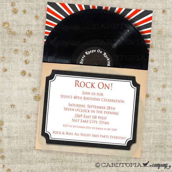 Classic Rock and Roll Birthday Invitation with Black and Red Vinyl Record Sleeve Custom Invites with Professional Printing Option