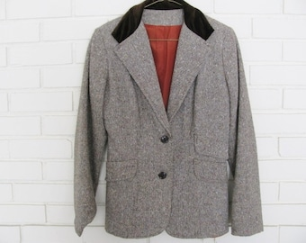Vtg fitted brown tweed blazer with velvet collar size S-M