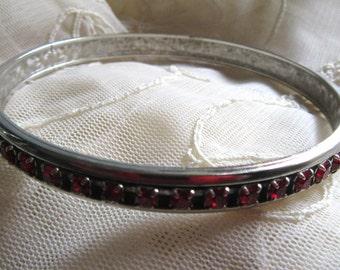 Vintage Red Rhinestone Metal Bangle Vintage Costume Jewelry Goth Prom Never Worn Ruby Red Bangles Bracelets