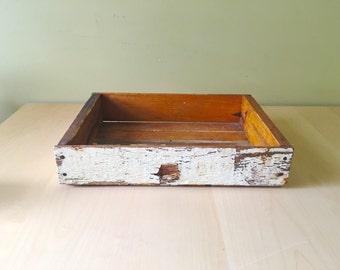 Vintage salvaged wood tray/ berry crate storage organization
