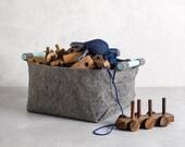 Soft Felt Storage Bin with Light Blue Wood Handles, Felt Basket, Storage Basket, SB-04