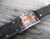Personalized Collar Bar Id Tag - Unique Pet Id Tag - Copper Pet Tag - Aluminum Pet Tag - Wire Wrapped Pet Id Tag - Id Tag - Noiseless Id Tag