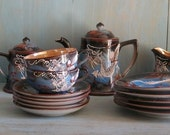 Vintage Dragonware Tea Set - 18 Pieces Blue Brown Black Made in Japan Moriage Mid-Century