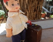 Tin Toy Man With Suitcase  ~  Tin Lithograph Man With Suitcase Toy  ~  Tin Toy Man With Suitcase  NO Key
