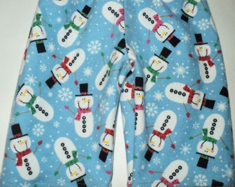 Childrens Pajama Pants, Kids Pj Pants, Snowman Winter PJ Pants Flannel Pants For Boy, Girl, Toddler or Baby, Pajama Bottoms, Made To Order