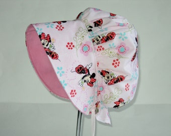 Baby Bonnet, Sun Hat, Minnie Mouse Sun Bonnet, Toddler Hat, Baby Girl Sun Bonnet, Summer Bonnet, Baby Hat, Toddler Sun Hat,  Made To Order