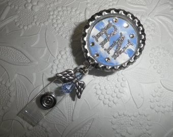 RN Professional Retractable ID Badge With Bling on a Bottle Cap With an Angel Bead, RN Gift