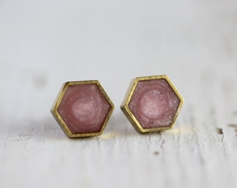 Rose Quartz Hexagon Post Earrings - Titanium Hypoallergenic Stud Earrings